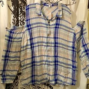NWT Maurice's Cold Shoulder Plaid Blouse Size 3